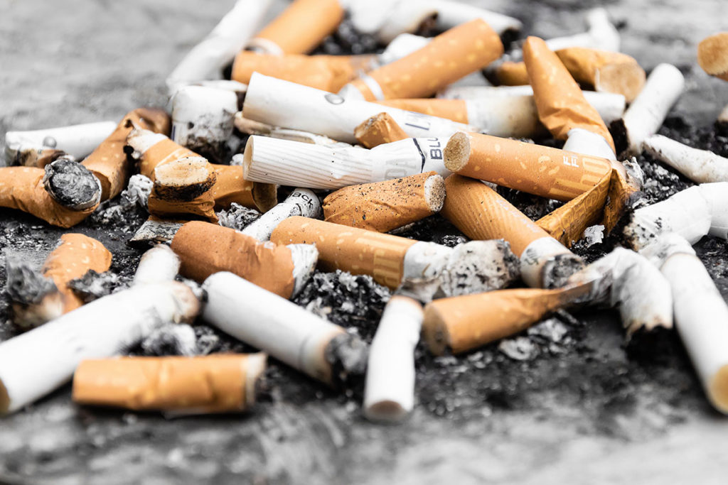 Cigarette butts blocking drains