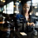 Woman waiting at a cafe