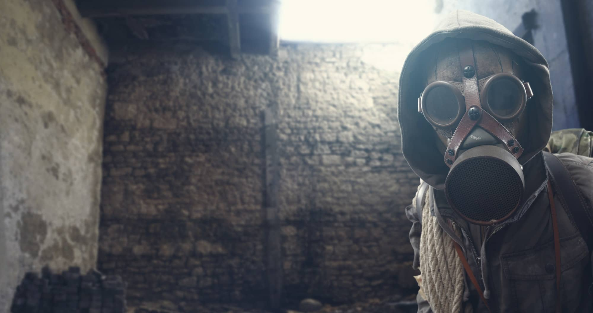 Nuclear disaster survivor with gas mask
