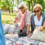 Senior Women Enjoying Game of Lotto with friends